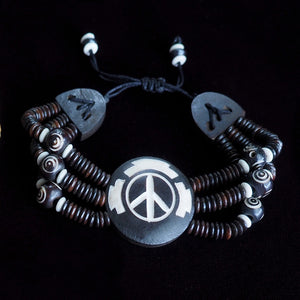 Men's PFC Peace Symbol Yak Bone Bracelet