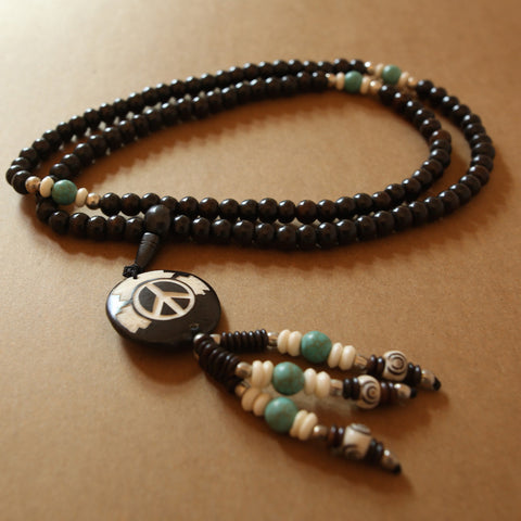 Nepalese Mala Bead Peace Sign Necklace