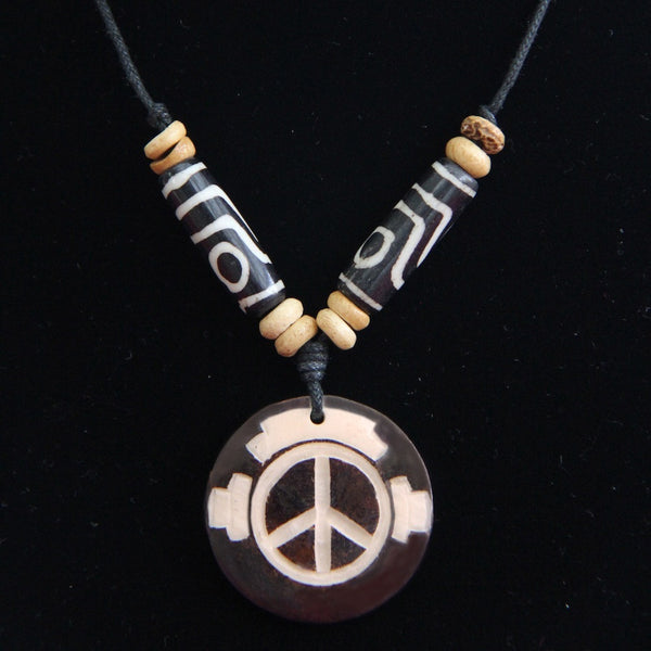 PFC Peace Phone Yak Bone Necklace