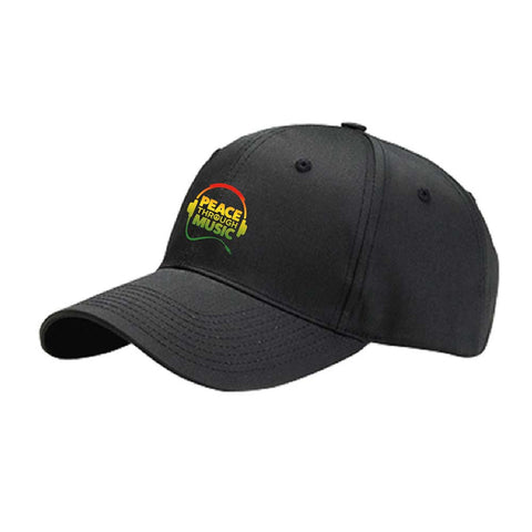 Peace Through Music Baseball Hat Black/Rasta