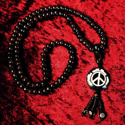 PFC Peace Symbol Mala Bead Necklace
