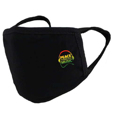 Peace Through Music Mask Black (Red | Yellow | Rasta)