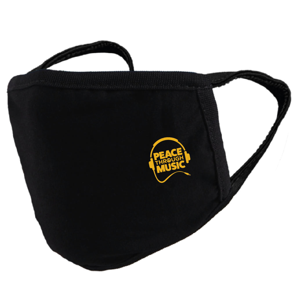 Peace Through Music Mask Black (Yellow | Rasta)
