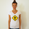 Organic Women's PFC Old School Logo v-neck T-Shirt