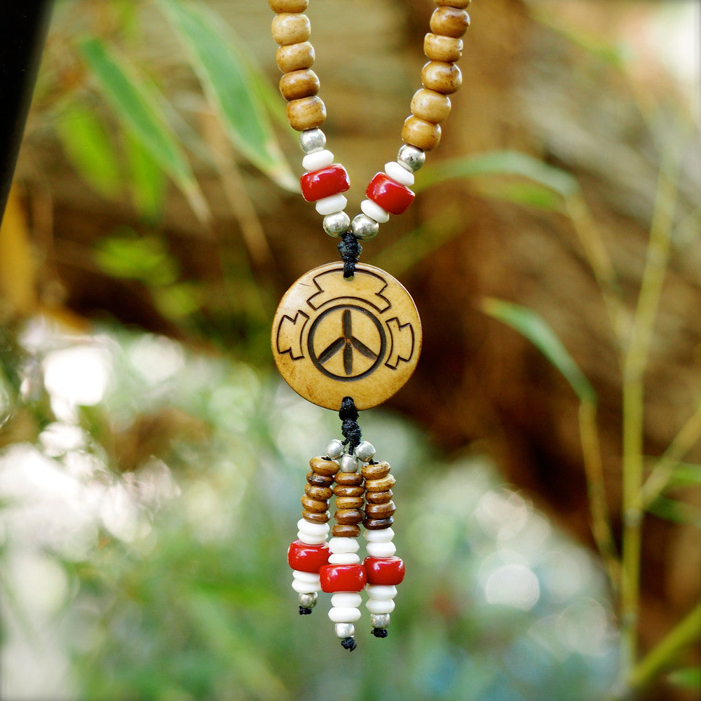 PEACE SYMBOL MALA BEAD HALF SIZE NECKLACE | Natural w/ red accent beads