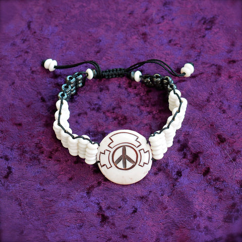 PFC YAKBONE PEACE BRACELET w/ B&W beaded band | LADIES WHITE