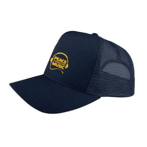 Peace Through Music Trucker Hat Navy
