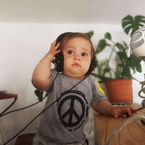 Kids Peace Through Music Bodysuit Babies | Grey