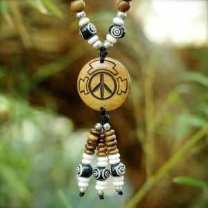 Peace Symbol Mala Bead Half Size Necklace Natural | Natural w/ Dzi bead