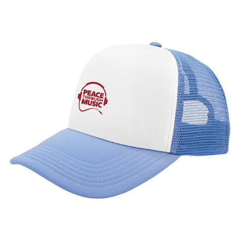 Peace Through Music Trucker Hat Light Blue