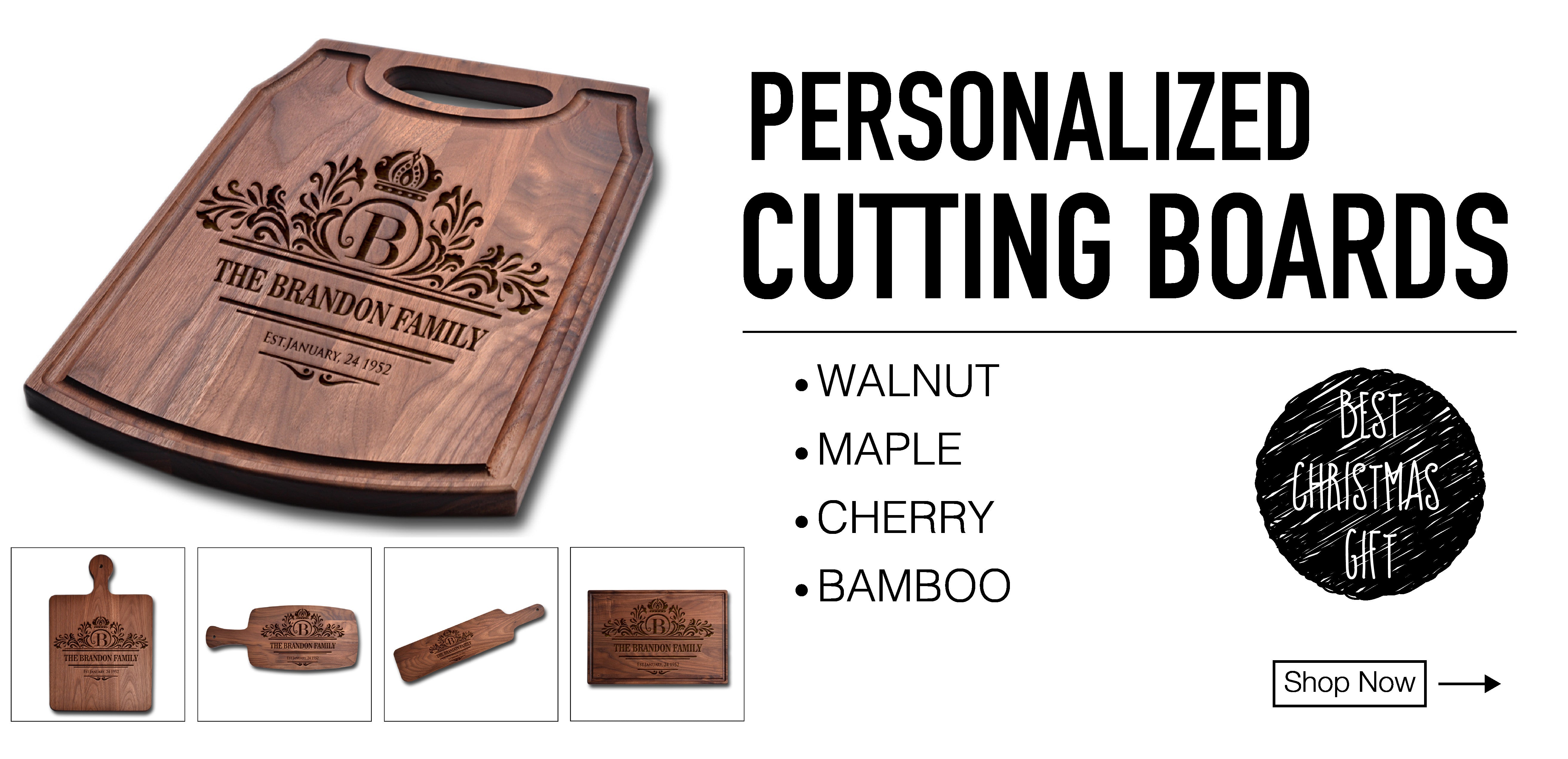 Personalized Cutting Boards Walnut Maple Cherry Bamboo Cutting Boards
