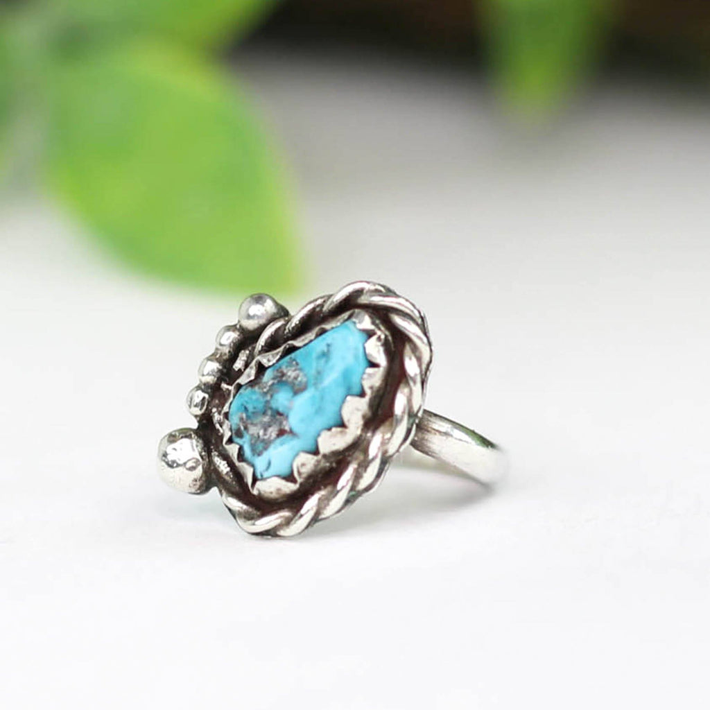 Old Pawn Raw Turquoise Ring - Rural Haze