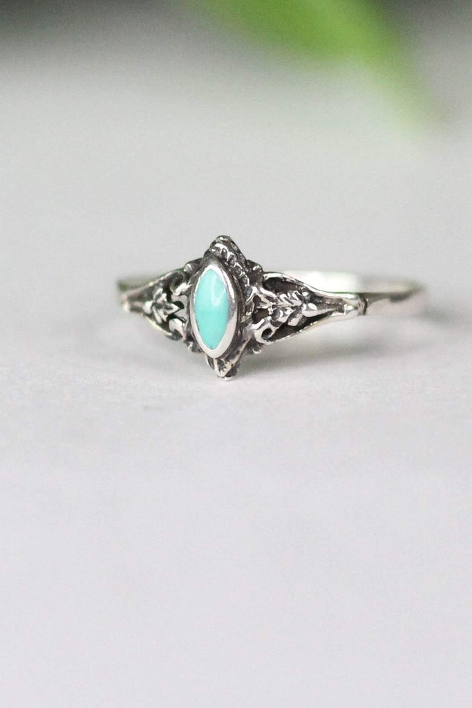 Turquoise Ring with Diamond Shaped Accent