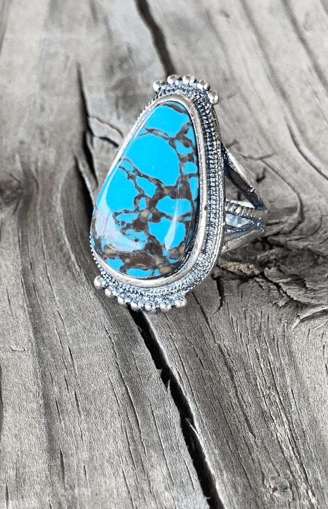 Marbled dark Turquoise Ring