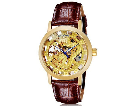 Gold Dragon Leather Watch