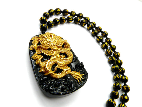 Gold Dragon Onyx Pendant Necklace