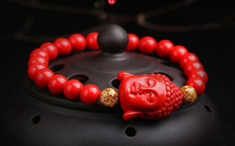 Tibetan Buddha Beaded Bracelet - Red Cinnabar