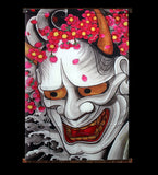 Hannya Mask Tattoo Style Wall-Hanging Cloth Poster
