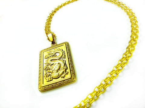 Gold Dragon Pendant Necklace