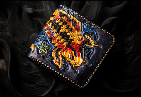 Japanese Koi Handmade Authentic Leather Wallet