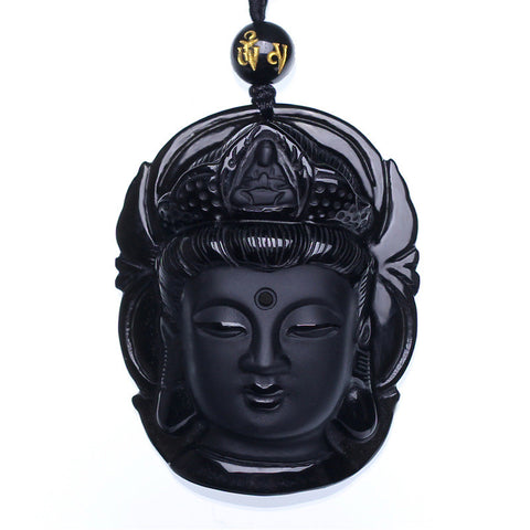 Goddess Of Mercy Buddha Head Pendant Necklace
