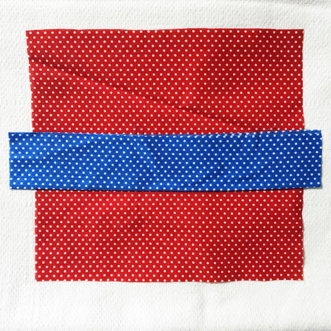 Vintage Fabric Minimalist Textile Art Red and Blue