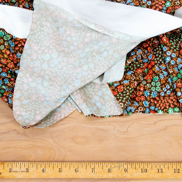 Vintage Floral Fabric Silky Polyester