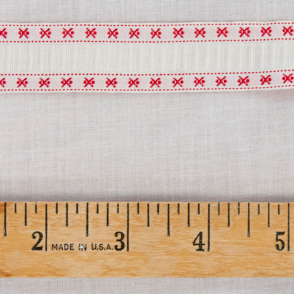 Vintage French Ribbon Red and White