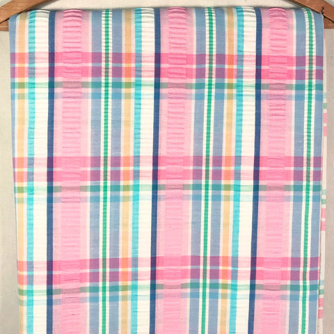 Plaid Seersucker Vintage Fabric [4 Yds]