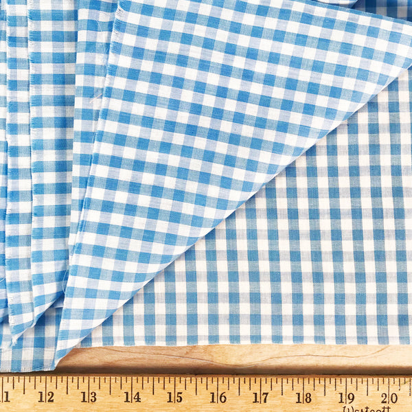 Cornflower Blue Gingham Fabric [5.75+Yds]