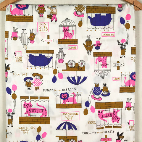 Children's Zoo Print Vintage Fabric [2 Yds]