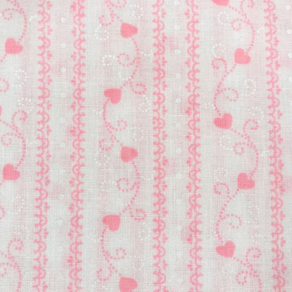 Heart Striped Vintage Fabric [3.25 Yds]
