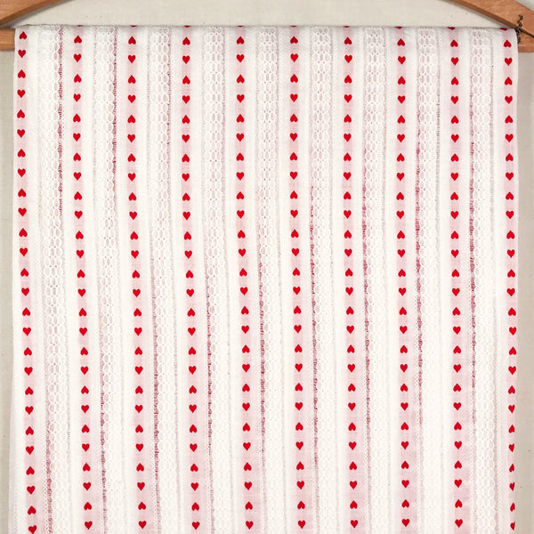 Embroidered Heart Striped Vintage Fabric [1.5+Yds]