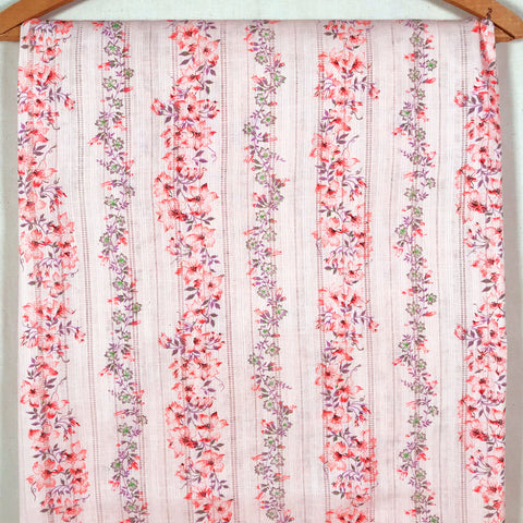 Floral Striped Dimity Vintage Fabric