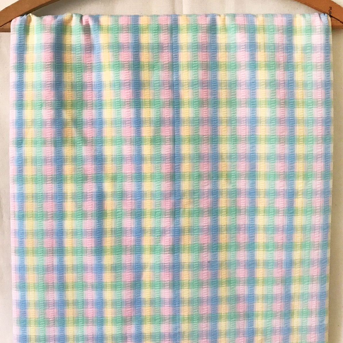 Pastel Plaid Seersucker Vintage Fabric [2.5Yds]