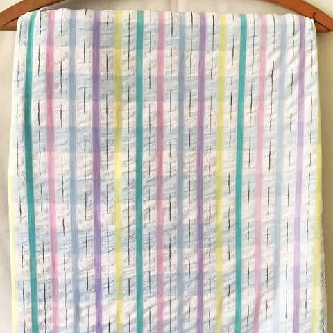 Pastel Plaid Seersucker Vintage Fabric [5Yds]