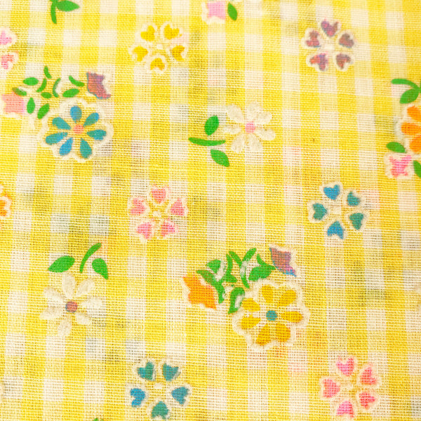 Flocked Floral and Gingham Vintage Fabric [2+Yds]