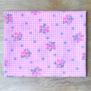 Floral Pink Gingham Flocked Fabric Remnant