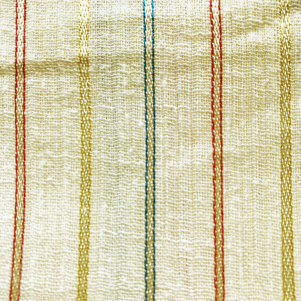 Light Yellow Striped Cotton Gauze Vintage Fabric [BY THE YARD]