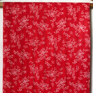 Vintage Red & White Floral Dimity Fabric [1Yd]