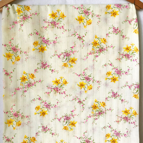 Floral Striped Dimity Vintage Fabric [1.5Yds]