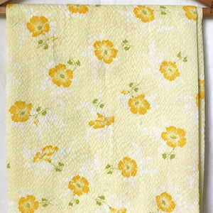 Yellow Floral Floral Plisse Vintage Fabric [1.5+Yds]