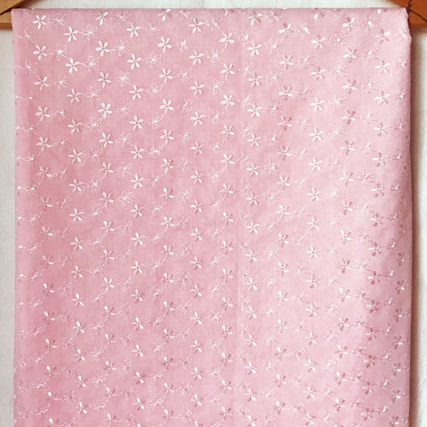 Pink with White Embroidered Flowers Fabric [1.5+Yds]