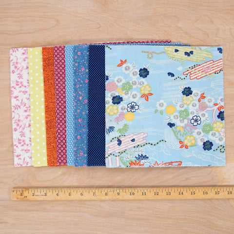 Layer Cake Quilting Fabric / Japanese Garden Pack / 48 Squares of Vintage & Reclaimed Fabric