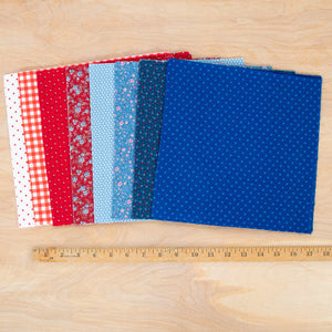 Layer Cake Quilting Fabric / Red & Blue Pack / 48 Squares of Vintage & Reclaimed Fabric
