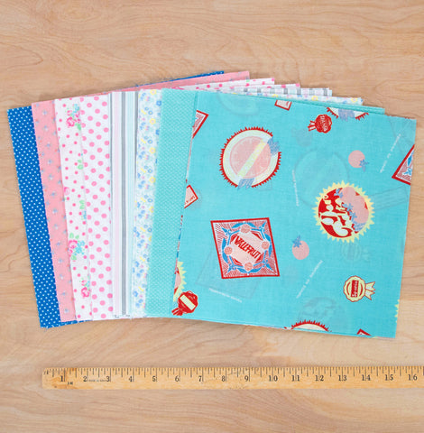 Layer Cake Quilting Fabric / Candy Shop Pack / 48 Squares of Vintage & Reclaimed Fabric