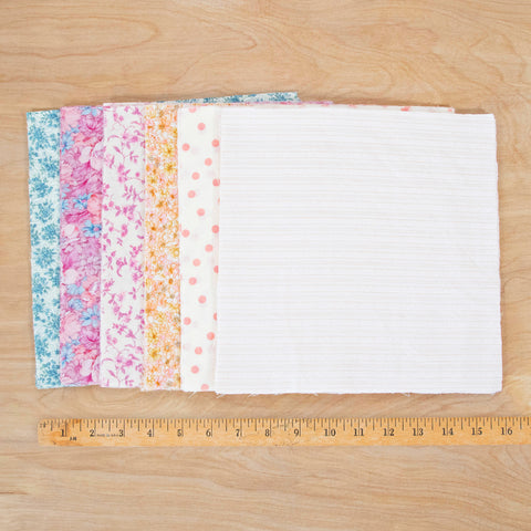 Layer Cake Fabric Pack / 48 Squares of Vintage & Reclaimed Fabric