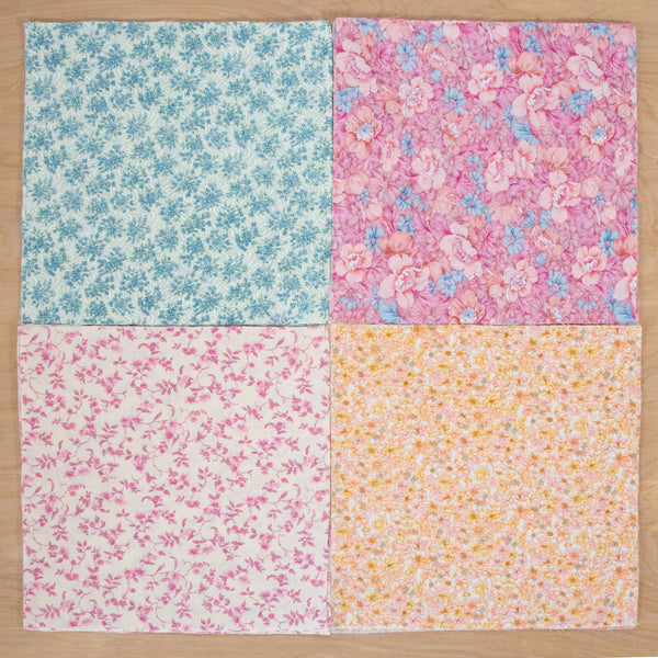 Layer Cake Quilting Fabric / Spring Pack / 48 Squares of Vintage & Reclaimed Fabric