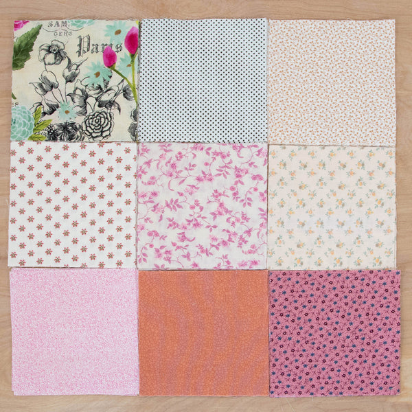 Charm Pack Quilting Fabric / Paris Summer Charm Pack / 96 Squares of Vintage & Reclaimed Fabric