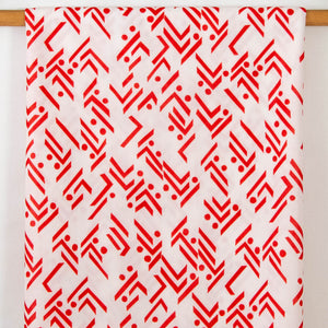 Vintage Fabric Geometric Red and White
